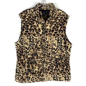 Westbound Leopard Print Full Zip Fleece Vest
